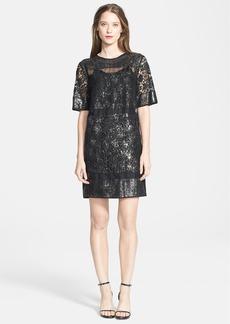 Rebecca Taylor Short Sleeve Metallic Lace Shift Dress