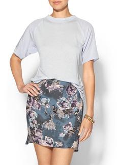Rebecca Taylor Short Sleeve Silk & Jersey Open Back Top