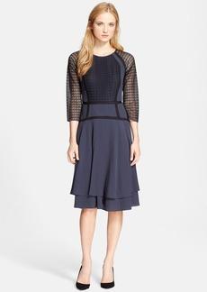 Rebecca Taylor Silk & Lace Crepe A-Line Dress