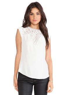 Rebecca Taylor Silk & Lace Mix Top in White