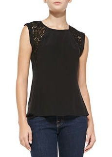 Rebecca Taylor Silk Lace-Inset Short-Sleeve Top