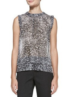 Rebecca Taylor Sleeveless Double-Layer White Noise-Print Top