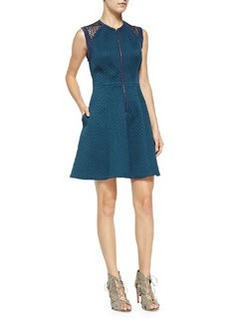Rebecca Taylor Sleeveless Quilted Zip-Front Dress