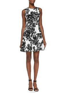 Rebecca Taylor Sleeveless Splashed Flowers Flippy Dress