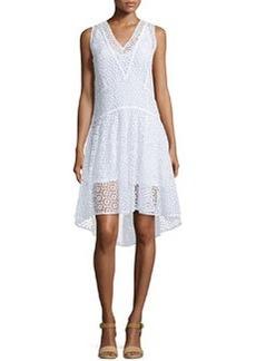 Rebecca Taylor Sleeveless V-Neck Tile-Lace Dress, Sea Salt
