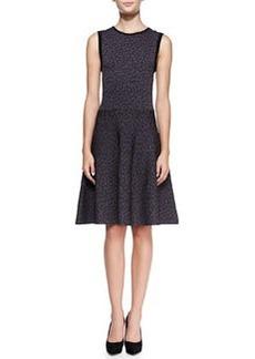 Rebecca Taylor Solid-Trim Animal-Print Dress