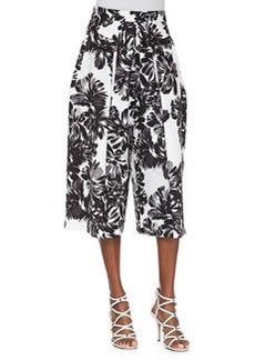 Rebecca Taylor Splashy Floral Culottes, Black/White