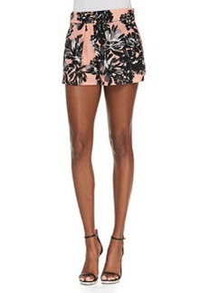 Rebecca Taylor Splashy Floral-Print Silk Shorts