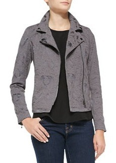 Rebecca Taylor Textured Floral Moto Jacket