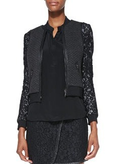 Rebecca Taylor Textured/Lace Bomber Jacket