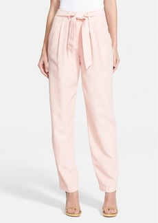 Rebecca Taylor Tie Waist Silk & Cotton Twill Pants