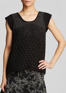 Rebecca Taylor Top - Cap Sleeve Studded Silk