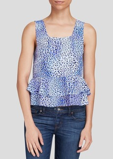 Rebecca Taylor Top - Leo Fever Sleeveless Silk Ruffle Crop
