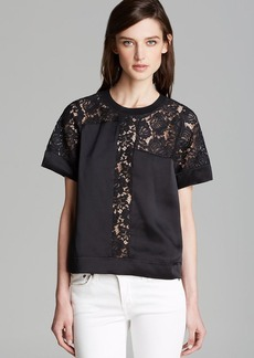 Rebecca Taylor Top - Short Sleeve Lace Inset