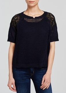 Rebecca Taylor Top - Short Sleeve Patchwork Texture