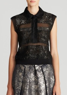 Rebecca Taylor Top - Sleeveless Foil Lace