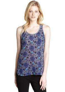 Rebecca Taylor turquoise and purple 'Lovebird' silk tank