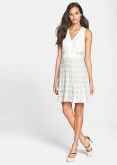 Rebecca Taylor Tweed & Lace Pleated Dress