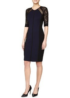 Rebecca Taylor Two-Tone Mixed-Fabric Fitted Dress