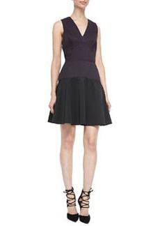 Rebecca Taylor V-Neck Knit/Crepe Combo Dress