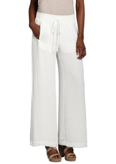 Rebecca Taylor white relaxed wide leg pocketed drawstring chiffon pants
