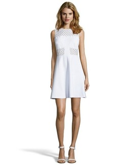 Rebecca Taylor white stretch knit and eyelet sleeveless fit and flare dress