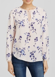 Rebecca Taylor Wisteria Long Sleeve Tie Neck Top