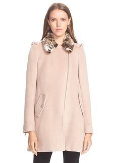 Rebecca Taylor Wool Coat with Faux Fur Trim
