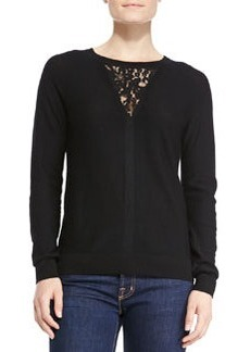 Rebecca Taylor Wool Knit Pullover w/Lace Inset