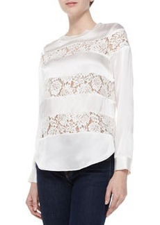 Silk & Lace Long-Sleeve Top   Silk & Lace Long-Sleeve Top