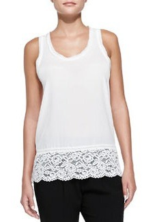 Silk Lace-Hem Sleeveless Top   Silk Lace-Hem Sleeveless Top