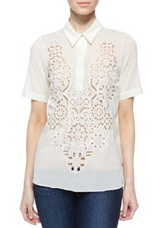 Silk Mosaic Cutout Top   Silk Mosaic Cutout Top