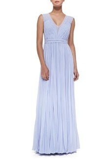 Sleeveless Pleated V-Neck Gown   Sleeveless Pleated V-Neck Gown