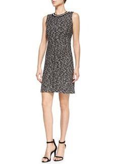 Sleeveless Textured Dress W/ Embellished Neck   Sleeveless Textured Dress W/ Embellished Neck