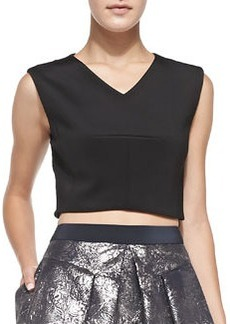 Sleeveless V-Neck Crop Top   Sleeveless V-Neck Crop Top