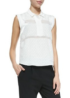 Solid/Dotted/Sheer Sleeveless Blouse   Solid/Dotted/Sheer Sleeveless Blouse