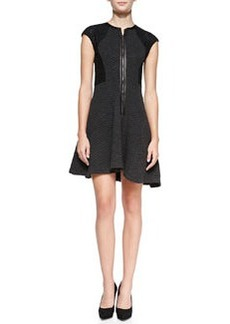 Textured Knit Lace-Sleeve Dress   Textured Knit Lace-Sleeve Dress