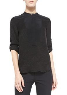 Textured Silk Colorblock Top   Textured Silk Colorblock Top