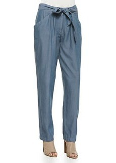 Tie-Waist Tapered Twill Pants   Tie-Waist Tapered Twill Pants