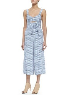 Tulip-Print Cutout Sleeveless Jumpsuit   Tulip-Print Cutout Sleeveless Jumpsuit