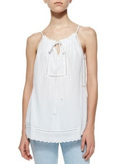 Voile & Lace Drawstring Top, Sea Salt   Voile & Lace Drawstring Top, Sea Salt