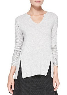 Zipper-Hem Metallic-Sleeve Pullover   Zipper-Hem Metallic-Sleeve Pullover