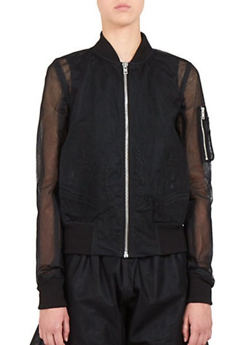 rick owens rick owens embroidered tulle bomber jacket outerwear shop it to me. Black Bedroom Furniture Sets. Home Design Ideas