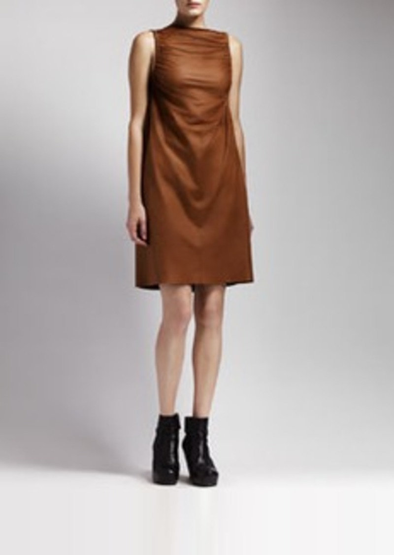 rick owens rick owens ruched leather dress honey dresses shop it to me. Black Bedroom Furniture Sets. Home Design Ideas