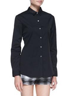 Robert Rodriguez Buttoned Leather-Collar Shirt