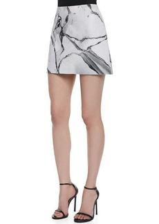 Robert Rodriguez Carrara Marble-Print Short Skirt