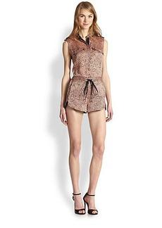 Robert Rodriguez Cheetara Silk Short Jumpsuit