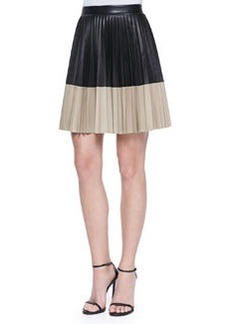 Robert Rodriguez Colorblock Pleated Leather Skirt