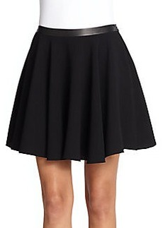 Robert Rodriguez Crepe & Faux Leather Techno Skirt