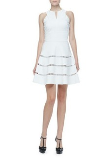 Robert Rodriguez Cutout-Stripe Twill Dress